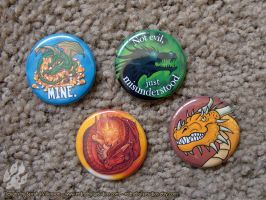 Dragon Humor Pinback Buttons by Nightlyre