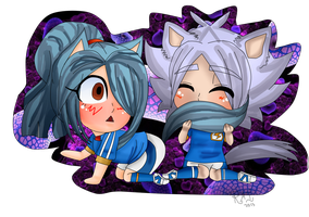 Ina11/SP: Chibi Neko Vs Chibi Wolf by Abyzz01