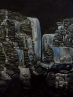Waterfall - Acrylics by Emasone