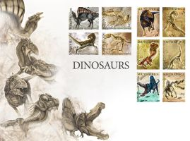 Dinosaur Stamps by Noomeci-art