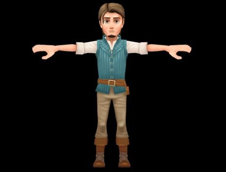 Flynn Rider (Tangled) 3D model texturing process by CGHow