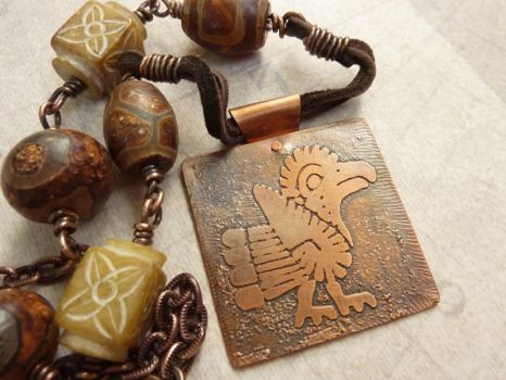Tribal Etched Copper Necklace by atwistofwhimsy