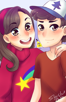 Mabel and Dipper Pines by SlushiePuffs