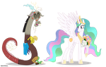 Discord And Celestia Commission by DragonChaser123