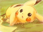 pikachu laying on the grass by kori7hatsumine