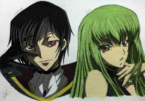 Lelouch vi Brittannia x C.C. (colored) by Izham-ZK9
