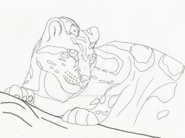 Lemming and Clouded Leopard Lineart by sapphire-blackrose