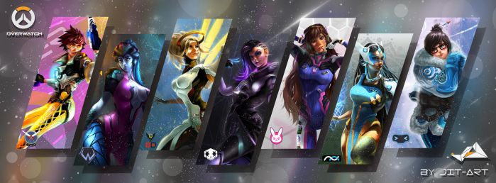 Full OVERWATCH Fanart series Custom Wallpaper by Jit-Art