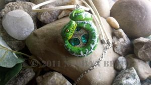 Emerald Tree Boa Necklace by NadilynBeato
