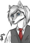 Blue Eyes, Red Tie by Rexcaliburr