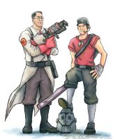 TF2: MvsM Medic and Scout by Rinkuchan27