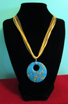 Turquoise - Gold Ribbon Necklace by BloodRed-Orchid