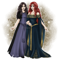 Chiara and Ylondra - New Character Design by RedPassion