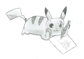 Me Drawing by Pikacshu