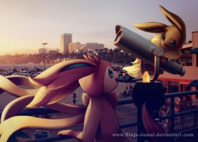 Wild Sylveon and Eevee by the sea by Ninja-Jamal