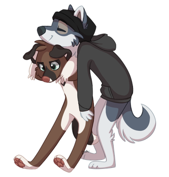 small dog gets bullied by large dog by Diazrar