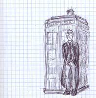 one  Doctor and Tardis drawing by JanekKazio