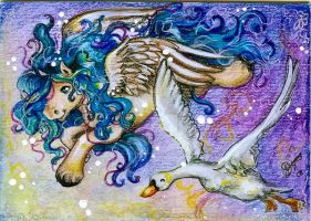 Flying together - ACEO by BlackAngel-Diana