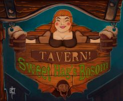 Sweet Hag's Bosom Tavern Sign by CarlosTorreblanca