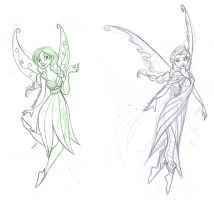 Frozen Fairies - Anna and Elsa Sketch by relsgrotto