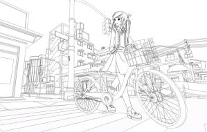 WIP: Girl and Bicycle by SydusDucentia