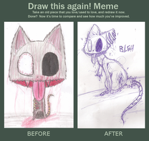 draw this again meme: bleh the zombie cat by undead-feline