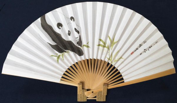 Panda spotting bamboo, hand-painted Japanese fan by catherinejao
