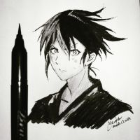 Yato- Noragami (Inking)- God of War by Cane-the-artist
