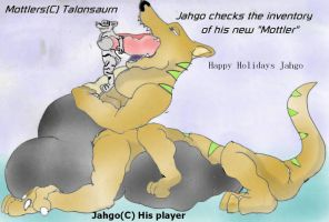 Jahgo Inspects his Gift by Talonsaurn