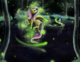 Dancing with Fireflies by anjyil