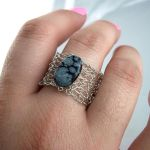 Snowflake Obsidian Ring by RavenBaubles