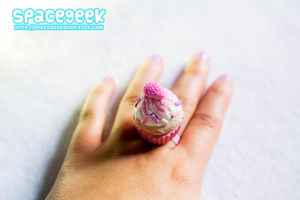 Pastel Strawberry Cupcake Ring by tiny-moon
