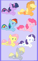 Chibi ponies by softfur