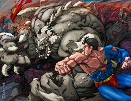 Superman vs Doomsday Colorized by DanielMead