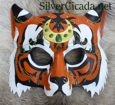 Bejeweled Tiger Leather Mask by SilverCicada