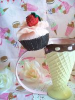 Strawberry Cupcake Topper by lessthan3chrissy