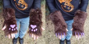 Brown Fingerless Gloves by PocketWolfCollection