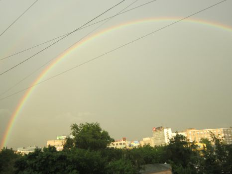 Full Rainbow Over City by Nowizard