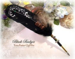 BLACK BADGER Feather Pen by ChaeyAhne