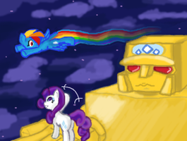 Rarity, Rain-Rains, and Gold Lightan! by ReyJJJ