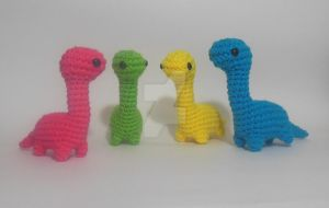 Bright Colors Crochet Amigurumi Dinosaurs by StitchedLoveCrochet