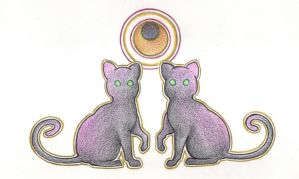 Cats by Moonlight by Spiralpathdesigns