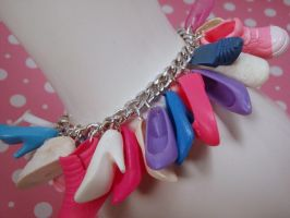 Shoe Mad Pink Blue Purple Charm Bracelet by PoniesOfDOOOM