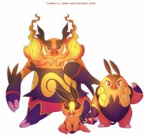 Tepig Pignite and Emboar by francis-john