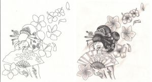 Freebies Tattoo Designs Geisha with Flowers by TattooSavage