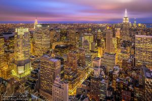 New York Skyline Sunset by Nightline