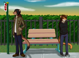 Commission: Bus Stop by UselessKitsune
