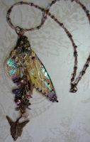 Fairy WIng Necklace by elvenelysium