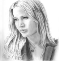 Jennifer Lawrence pencil portrait by Skylark6277