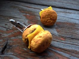 Cheese Burger Cuff Links by SteamPixy